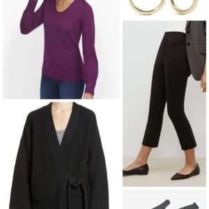 Black and Berry with a Madewell cardigan over a Talbots lightweight merino v-neck