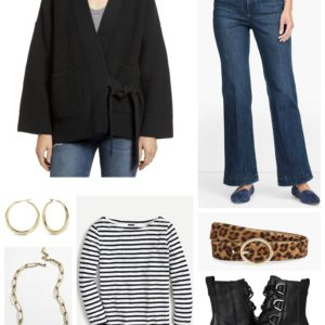 Stripes and leopard bring together a black cardigan and flared jeans