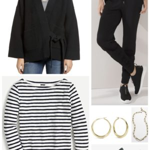 French Chic Casual pairing a breton tee with cozy knit joggers