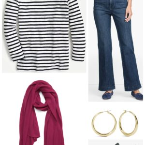 Keeping it Classic with a breton tee, flared jeans, and berry colored pashmina
