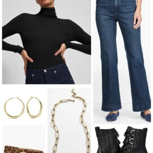 Cozy Sophistication with a black turtleneck and flared jeans with gold hoops.