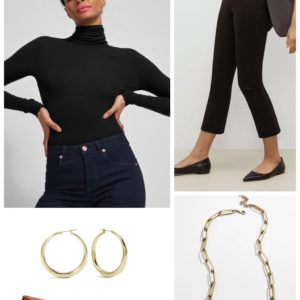 Audrey-inspired comfort with a black turtleneck and ankle pants with camel flats from Ally NYC