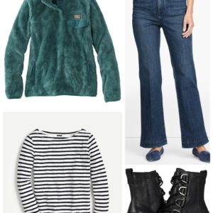 Target Run outfit with Talbots flared jeans, Sorel Cate Boots and an LL Bean Fleece