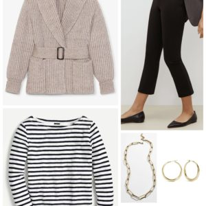 Casual Friday look with an MM LaFleur belted sweater coat and Breton tee