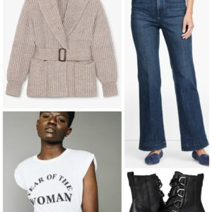 Firepit Friday Night outfit with Talbots wide leg jeans and an MM LaFleur belted sweater jacket