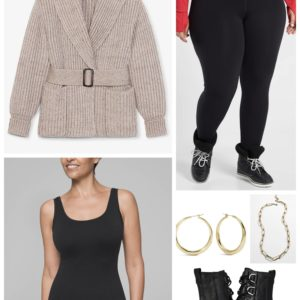 Tabletop Dressing with fleece leggings and an MM LaFleur belted sweater coat