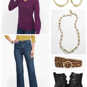 Accessories for Out and About using a gold Baublebar Hera Link necklace and leopard calfhair belt