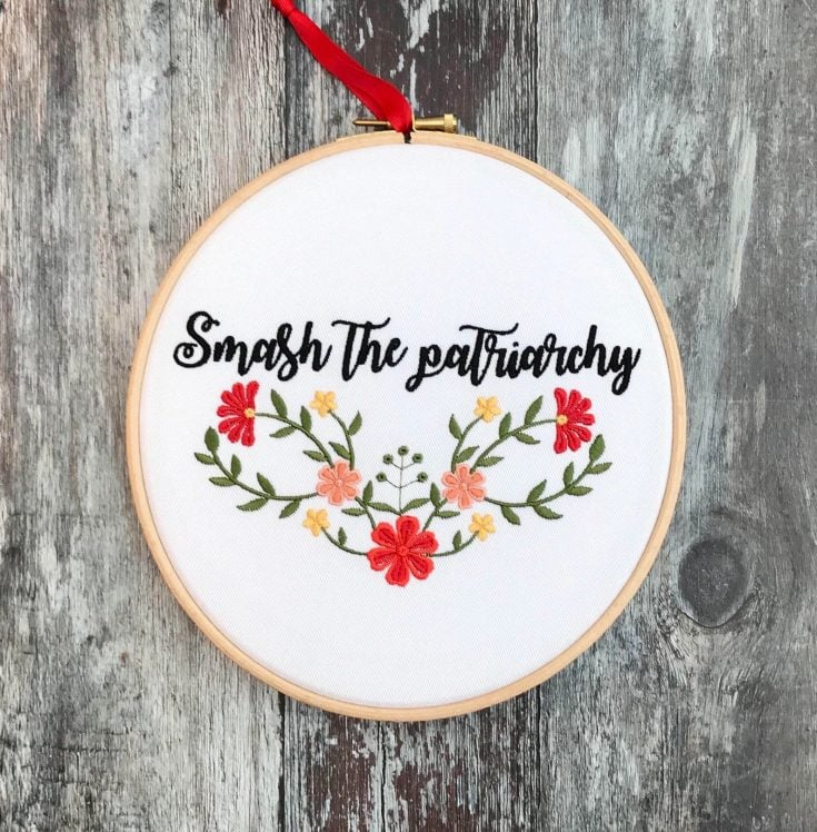 smash the patriarchy needlepoint
