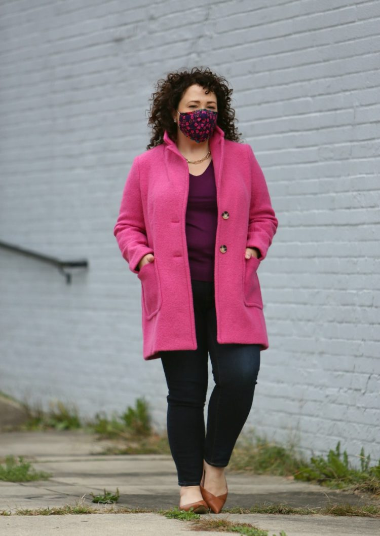 talbots pink boiled wool coat