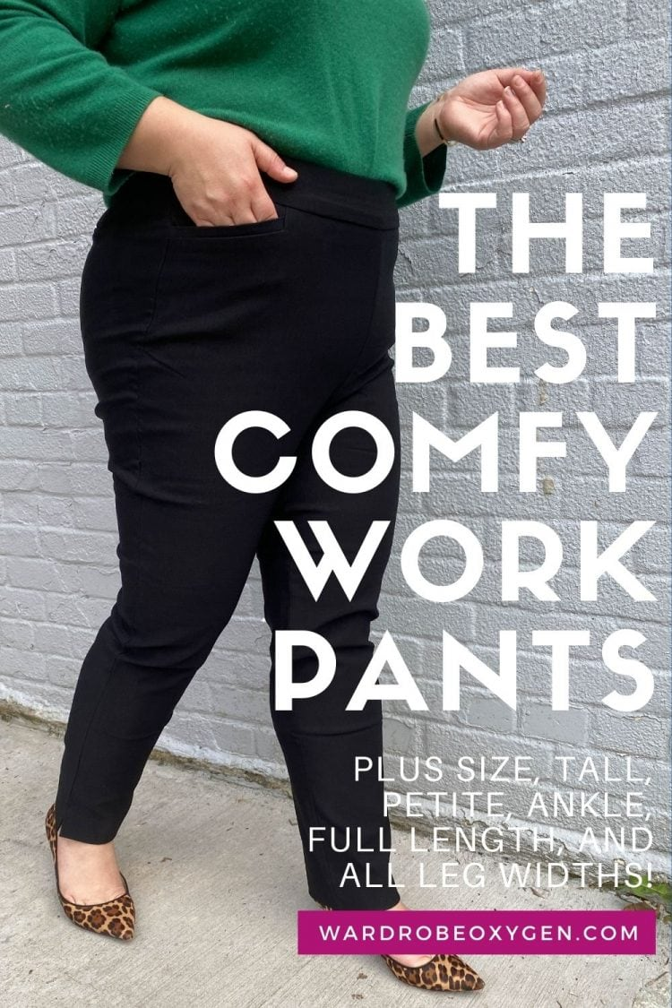 woman in black stretchy work pants walking with text overlay saying the best comfy work pants