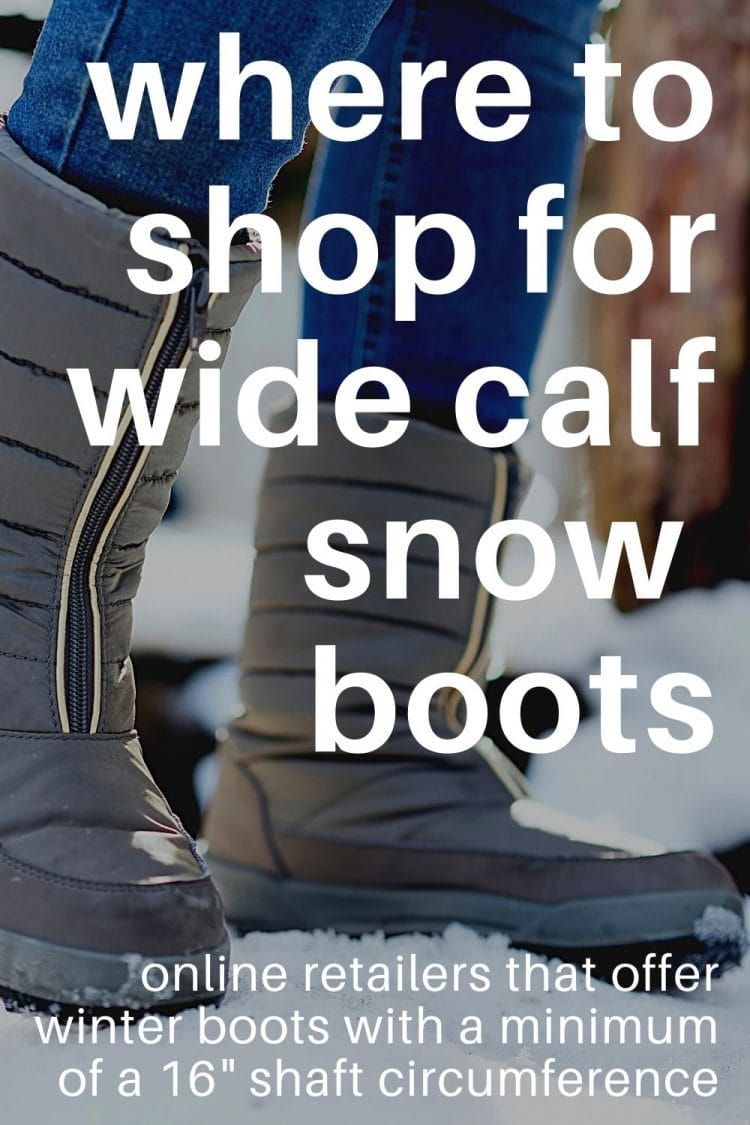 "Needing wide calf boots? This list of snow and rain boots are all styles with at least a 16"" shaft circumference"