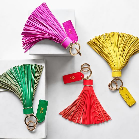 oversized leather tassel keychain c