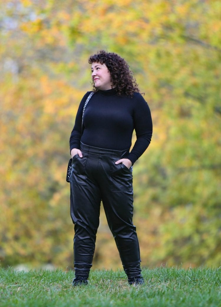 spanx faux leather jogger review