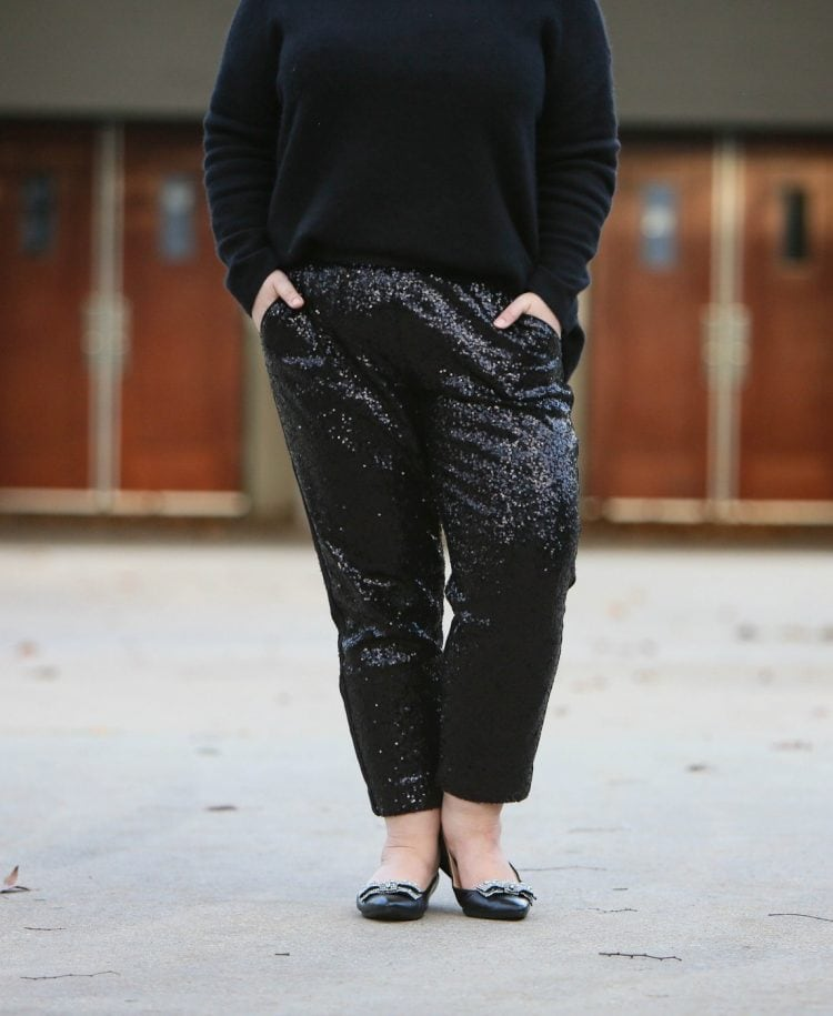 festive yet comfy outfit with sequin joggers from Chico's