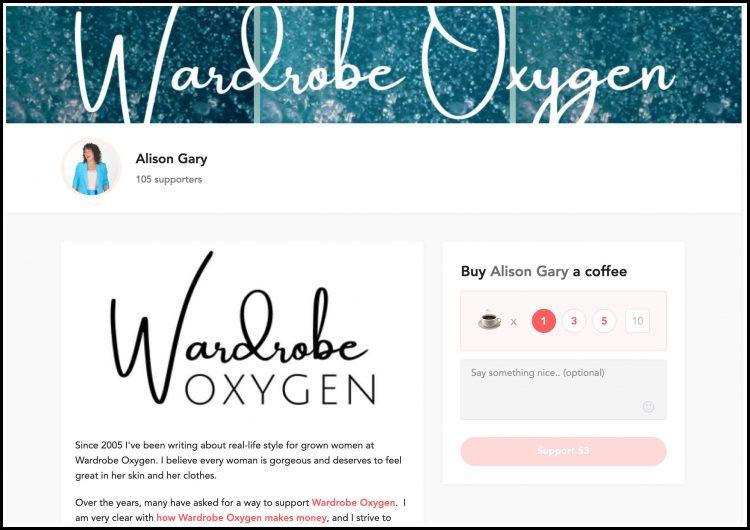 buy me a coffee wardrobe oxygen