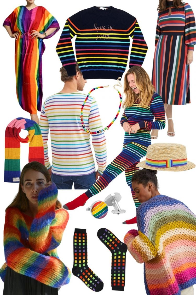 a collage suggesting Pride merchandise and where to buy rainbow fashion