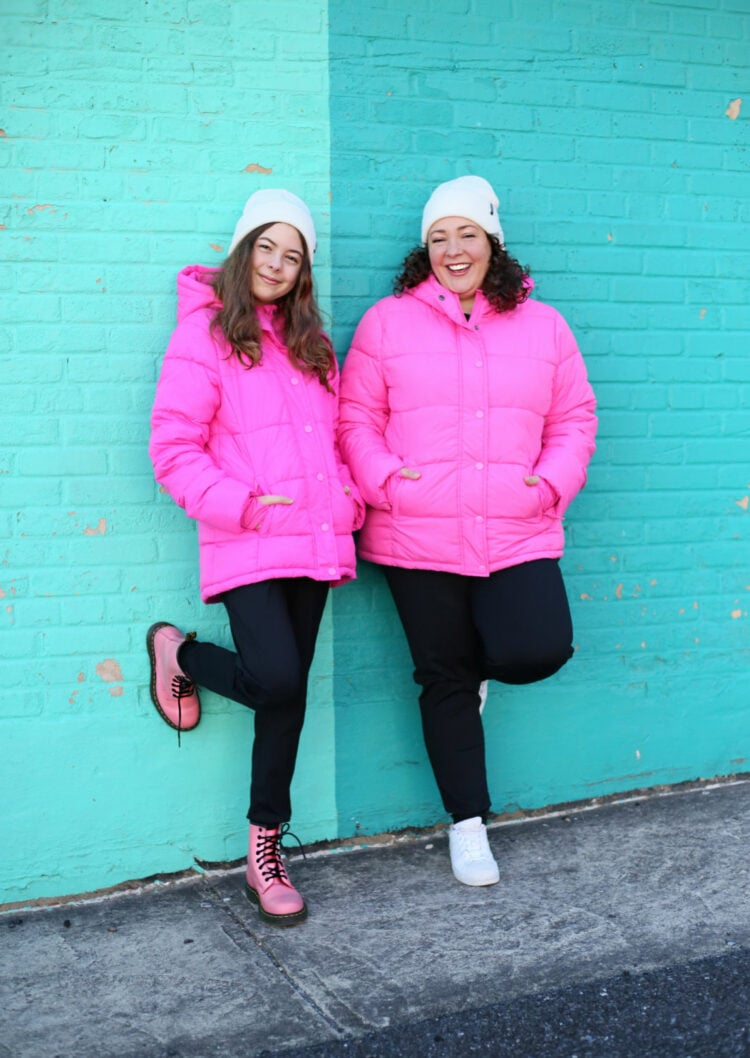 pink puffer coats on Wardrobe Oxygen and her kid