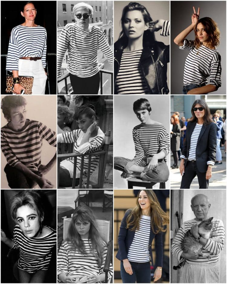 style icons wearing breton striped shirts