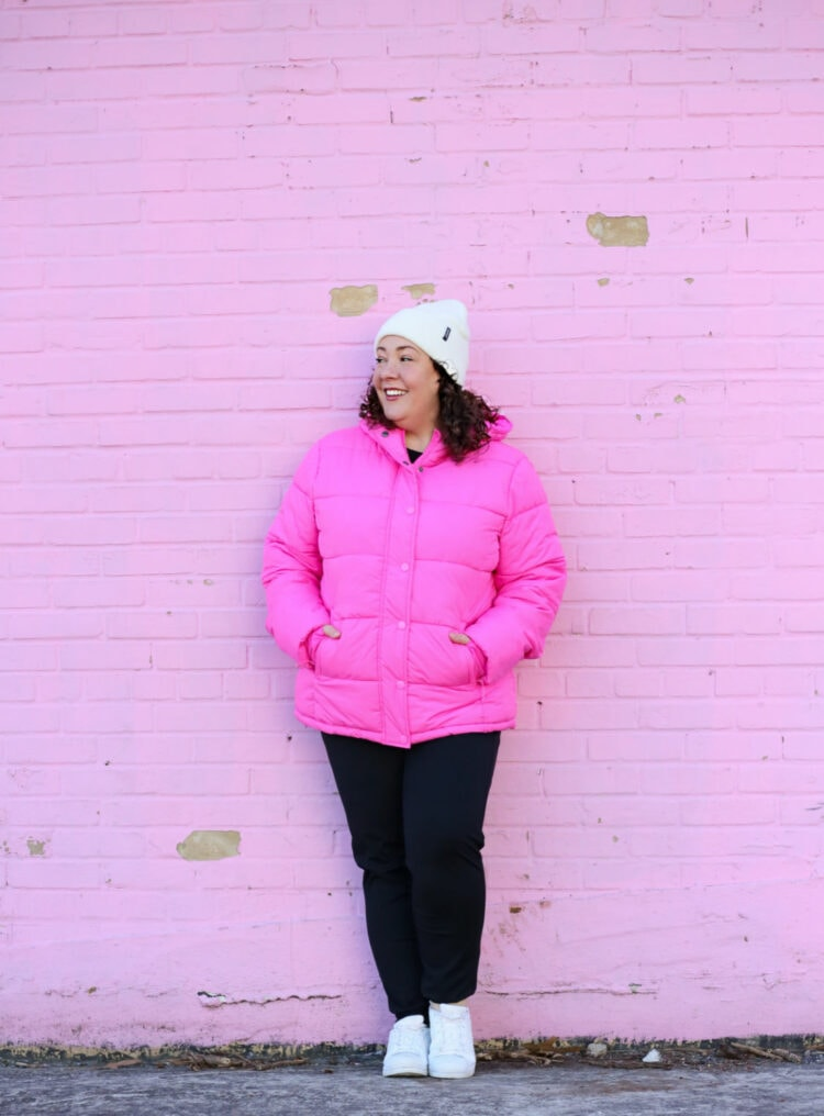 pink puffer coat from amazon