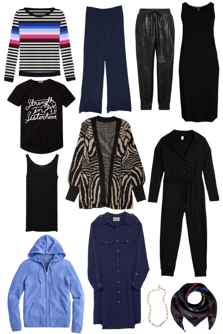 chic plus sized loungewear capsule wardrobe featuring black with pops of blue and animal prints