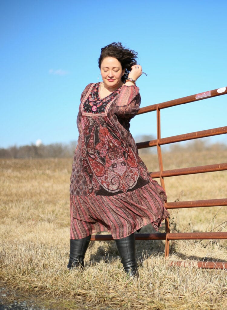Soft Surroundings Mosaic Dress in a burgundy paisley as seen on Alison Gary of Wardrobe Oxygen