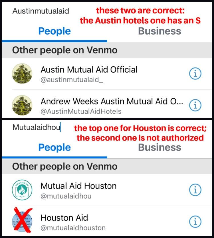 tips on using venmo for mutual aid texas