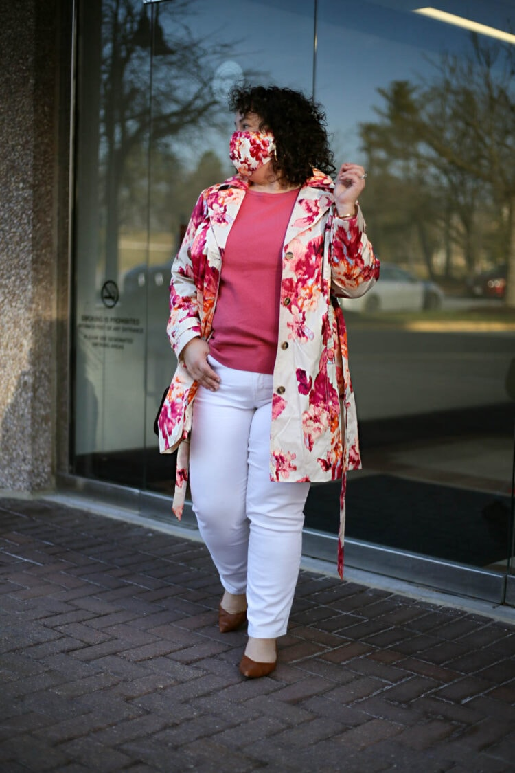 Chico's floral petite raincoat with white jeans