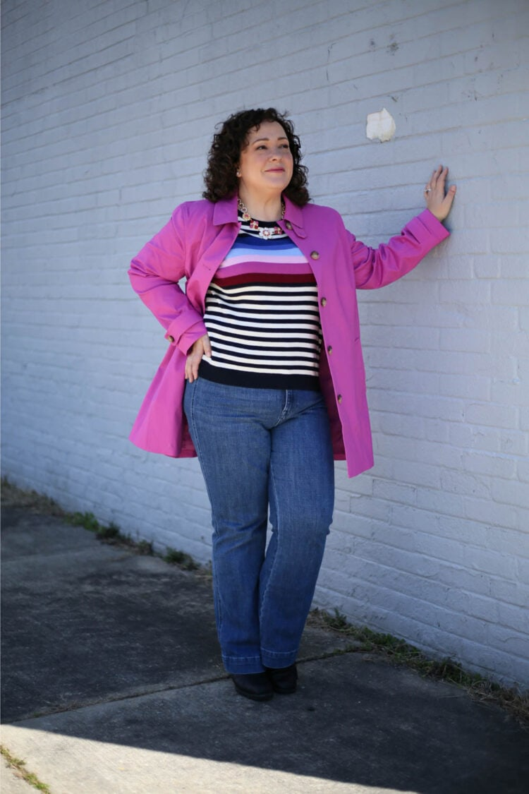 Pink Mac-style raincoat and striped sweater from Talbots on Wardrobe Oxygen