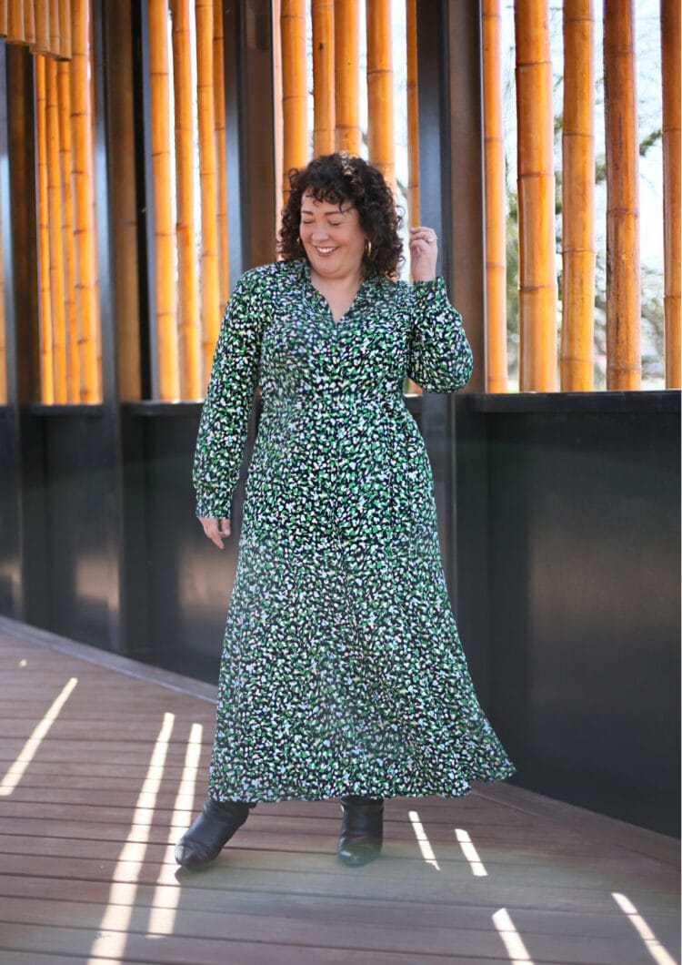 Alison of Wardrobe Oxygen in a green printed long sleeved maxi shirtdress
