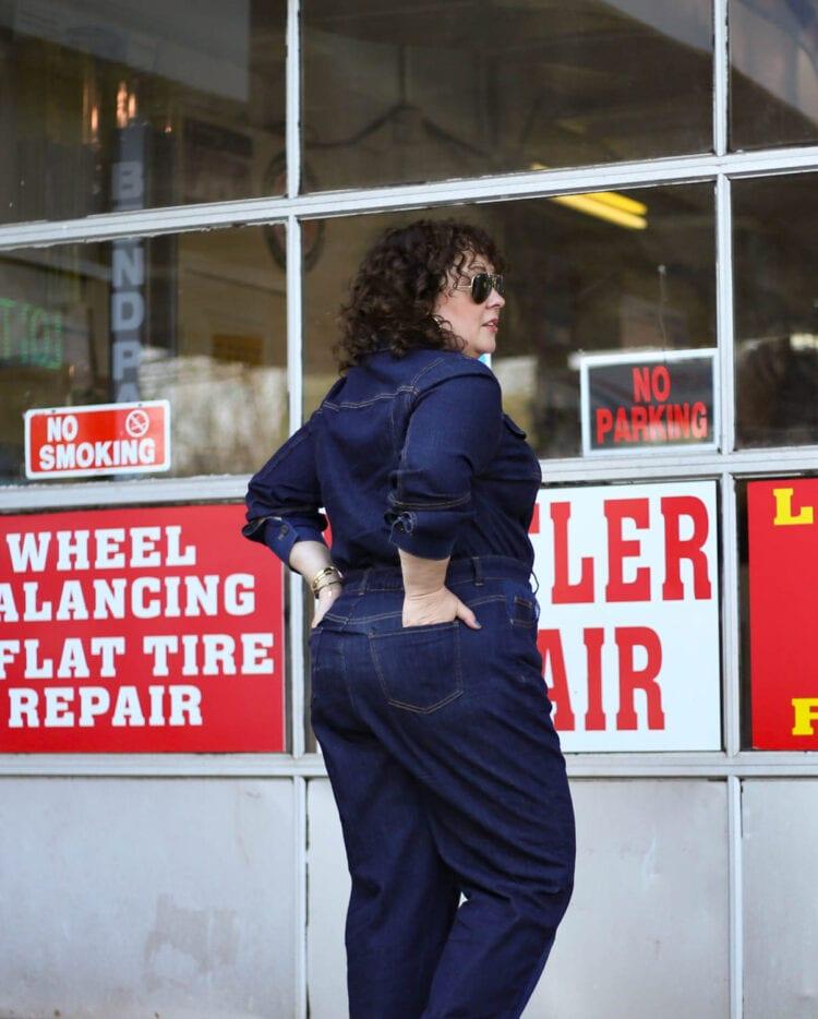 ERDEM x Universal Standard Review Myrtle Denim Jumpsuit Wardrobe Oxygen 12