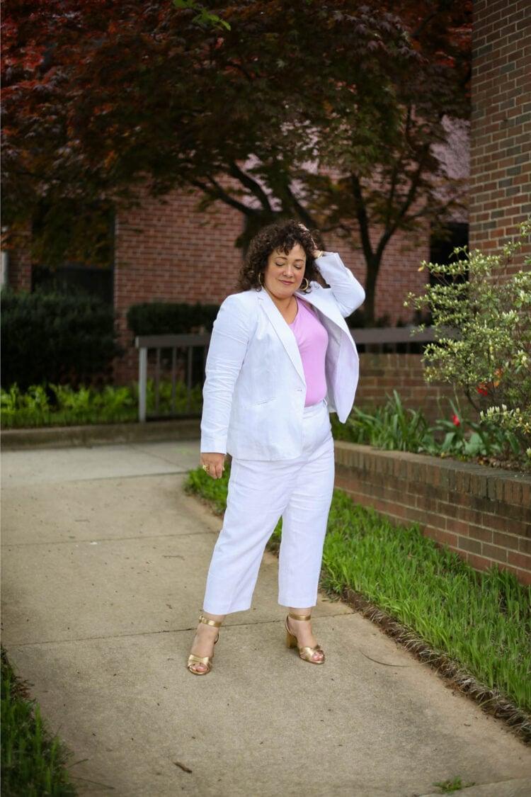 TALBOTS linen suit review 1