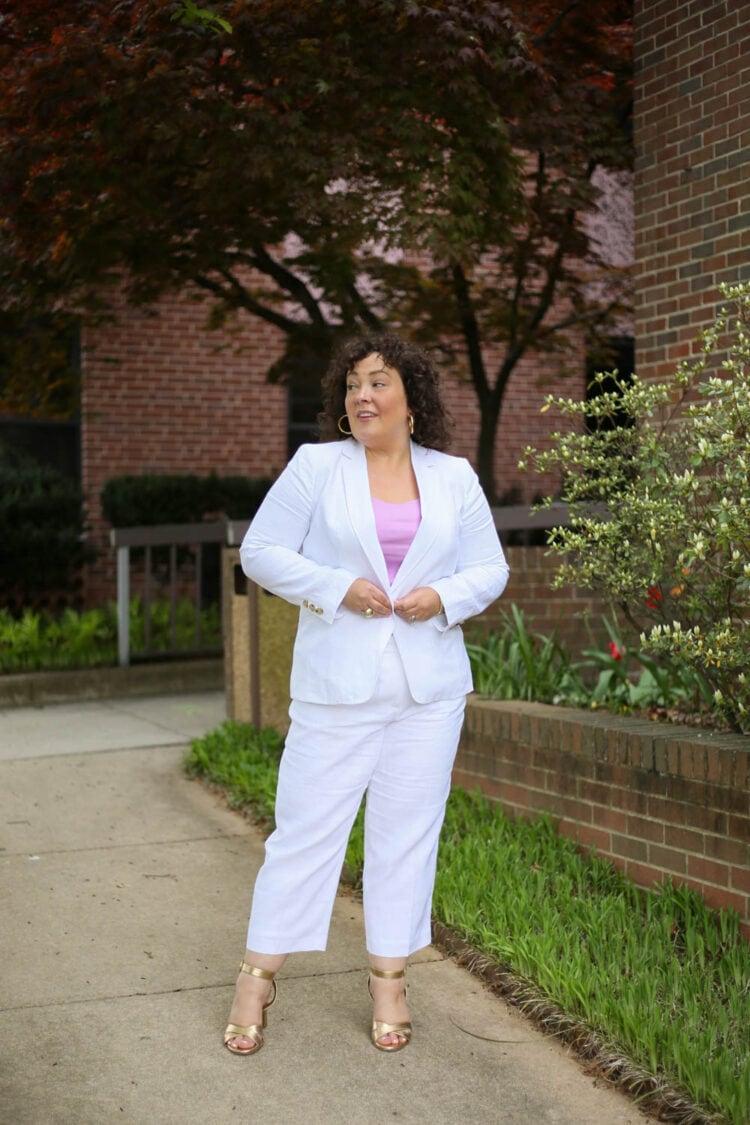 TALBOTS linen suit review 4