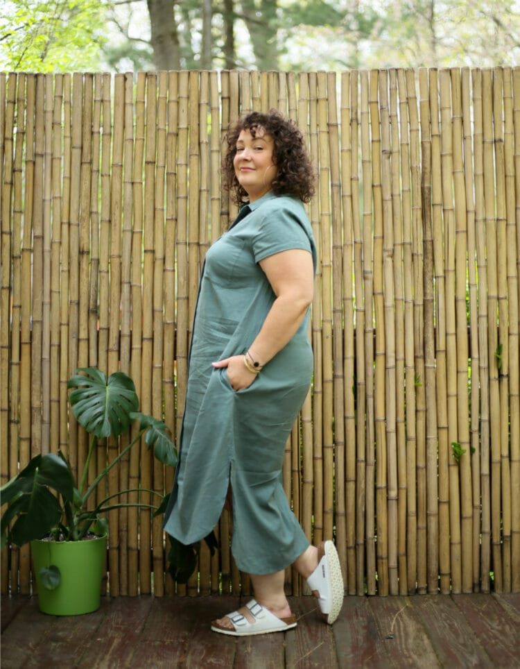 US linen dress side review