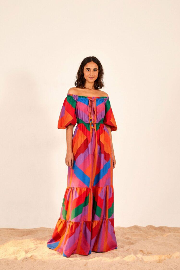 farmrio amanda stripes maxi dress