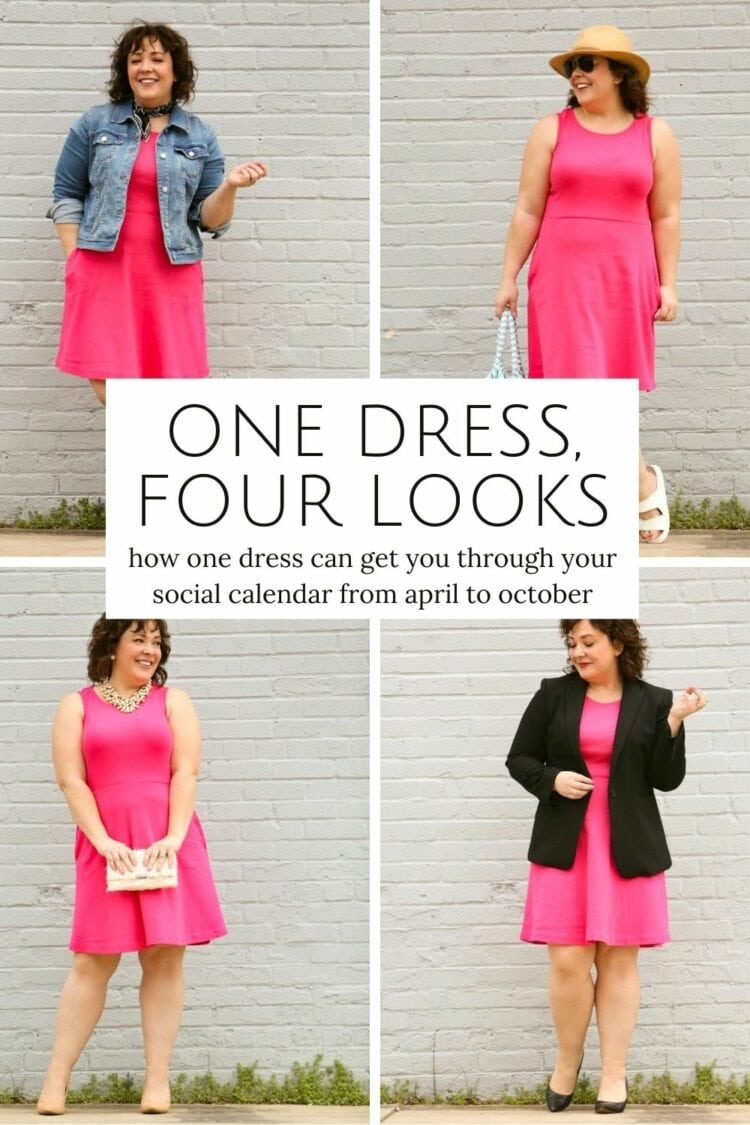 one knit dress four ways styled by Wardrobe Oxygen
