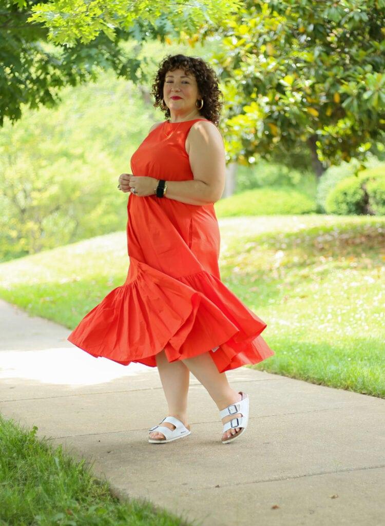 Alison in the Christopher John Rogers for Target Orange Shift Dress