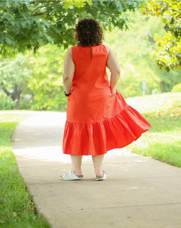 the back view of the Christopher John Rogers for Target Orange Shift Dress