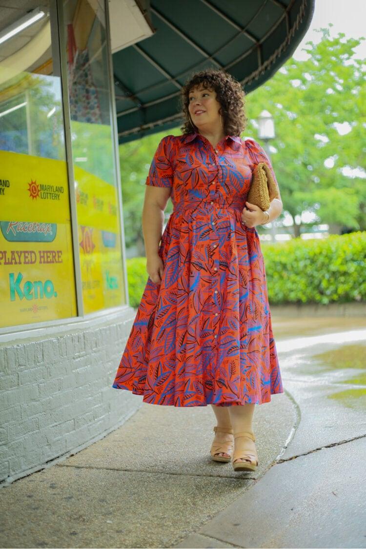 ALEXIS for Target Tropical Leaf Short Sleeve Shirtdress