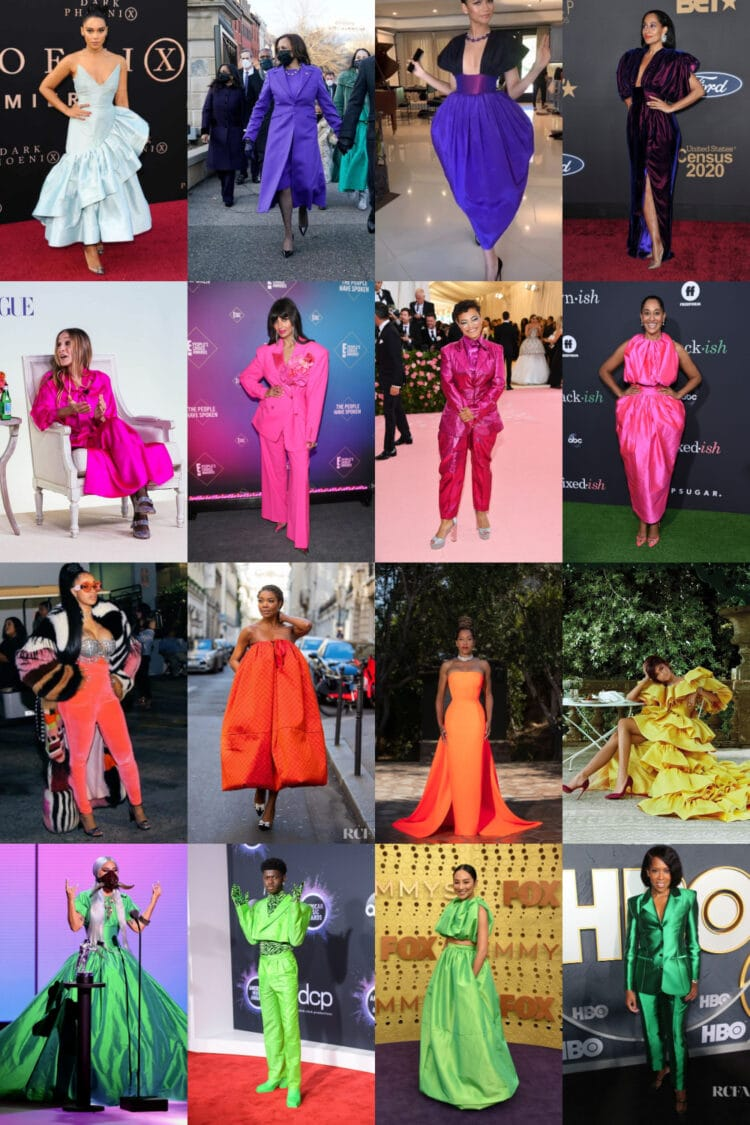 A collage of 16 images with celebrities such as Lil Nas X, Regina King, Tracee Ellis Ross, Zendaya, and Kamala Harris wearing colorful fashions from Christopher John Rogers