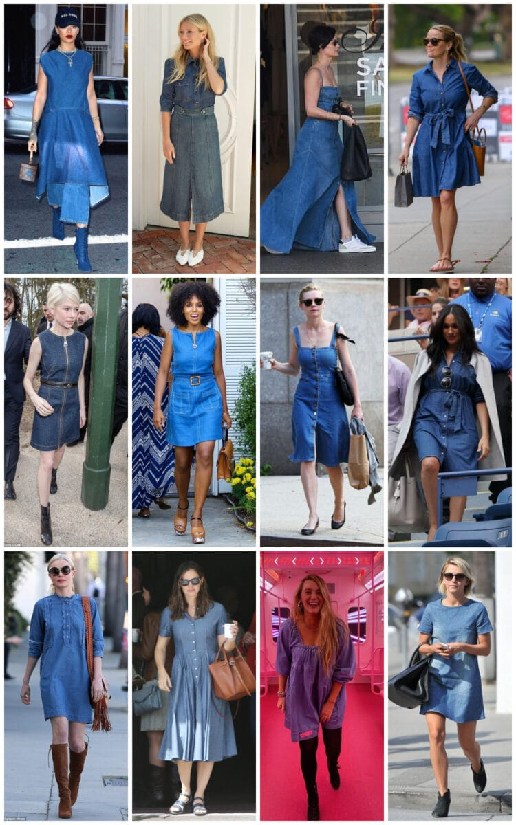celebrity denim dress trend summer