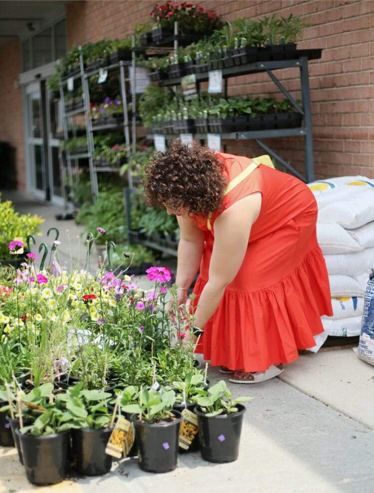 Alison wearing the dress at a garden center, squatting down to grab a plant on the ground