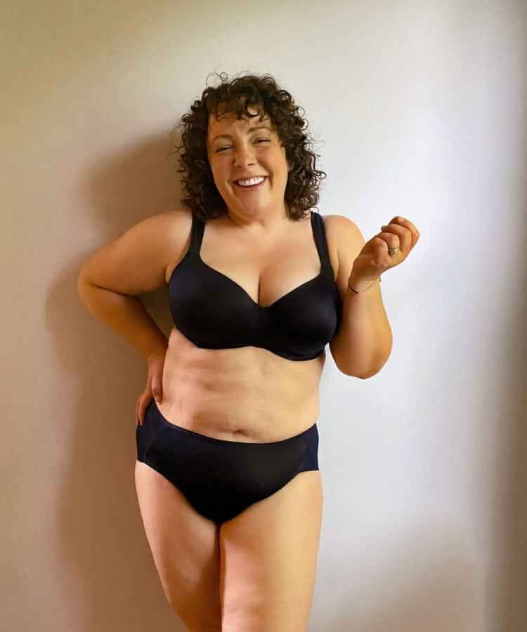 Alison in the navy Stunning Support balconette bra with matching navy briefs