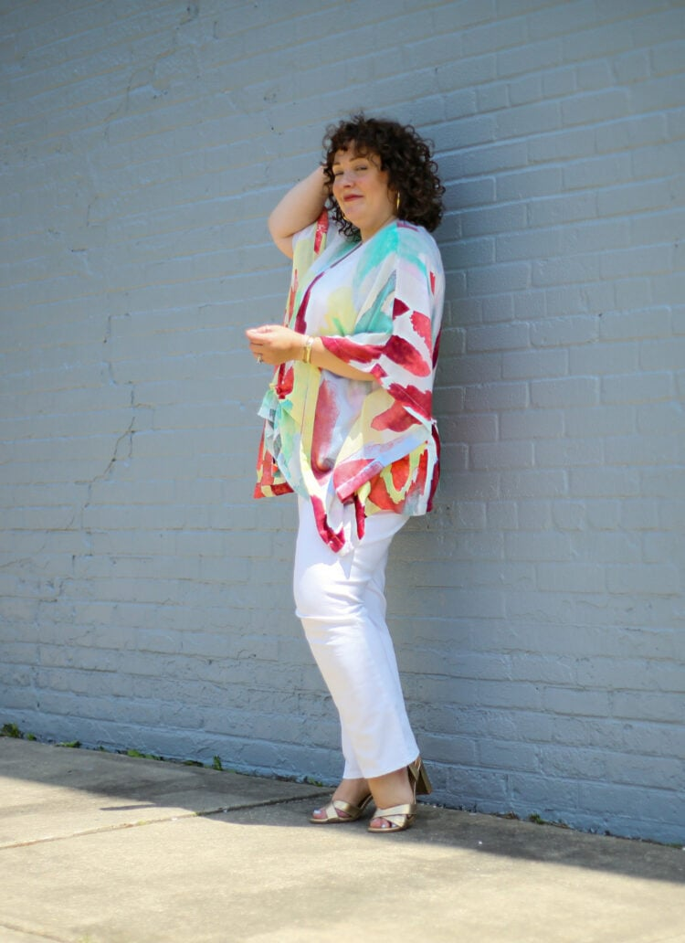 Alison in a watercolor summer ruana from Chico's