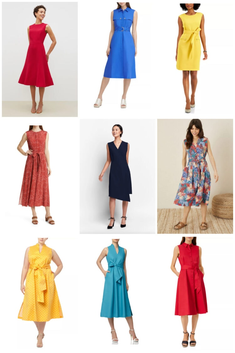 sleeveless summer work dresses with options in plus sizes