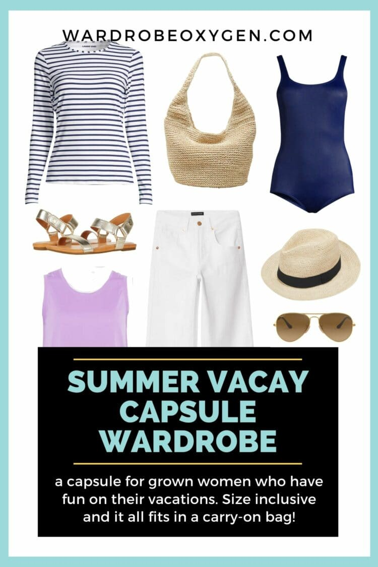 capsule wardrobe for a summer vacation for women. Size-inclusive with plus size options. Capsule wardrobe for summer that fits in a carryon bag.