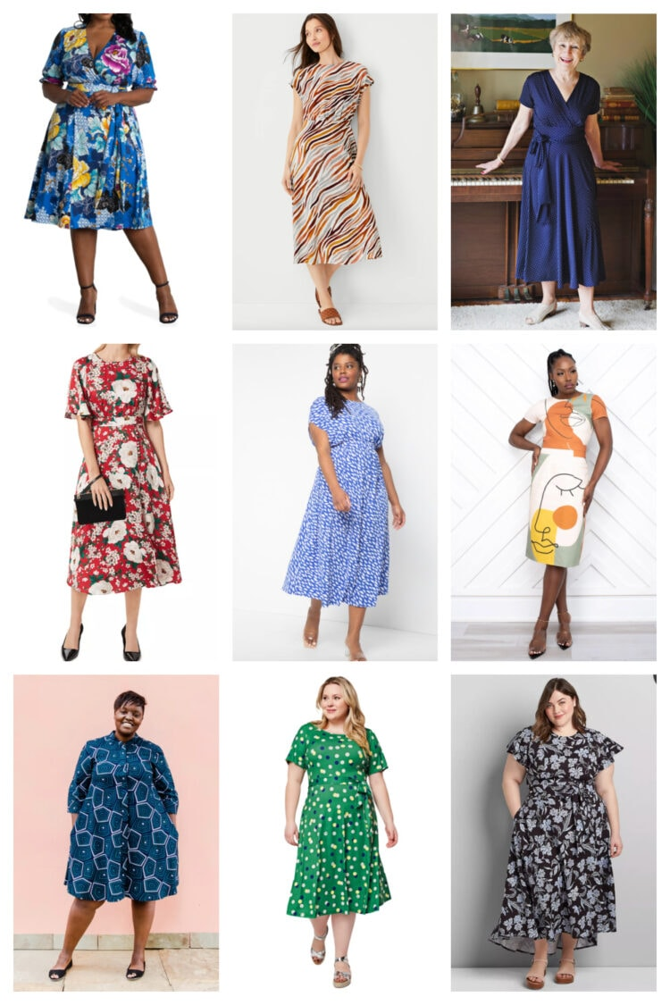 Stylish printed summer work dresses that add fun while still looking polished for the office