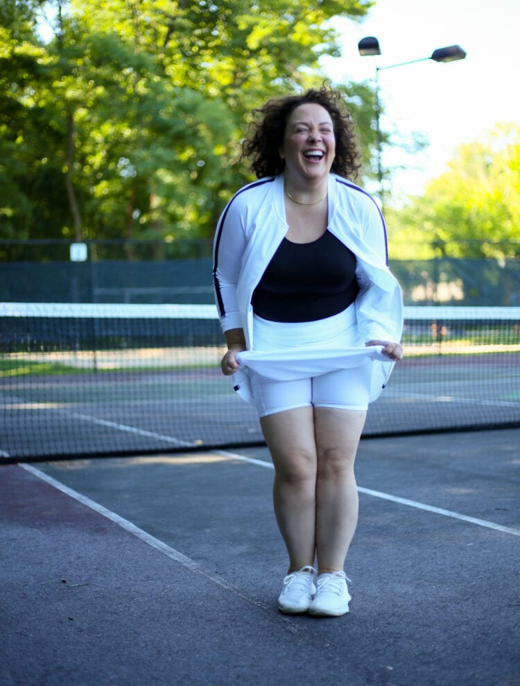 Showing the shorts that are under the Talbots On the Move Skort