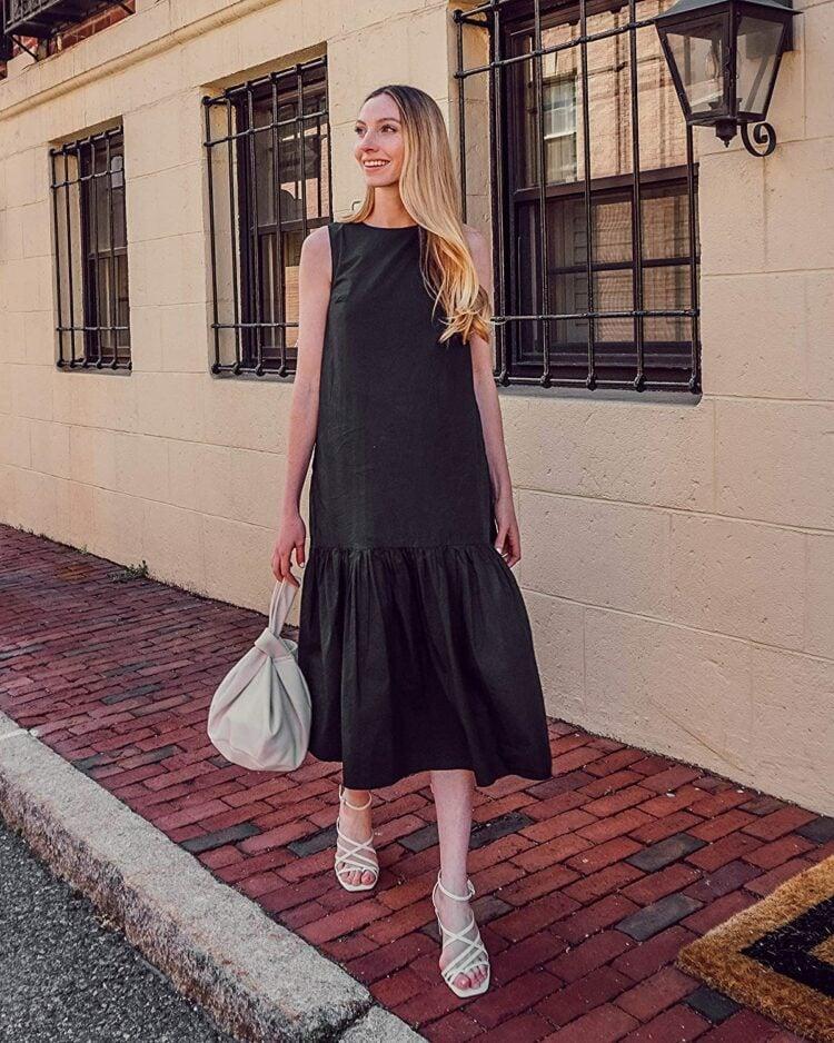 The Drop Womens Ilana Loose Sleeveless Wide Hem Poplin Maxi Dress