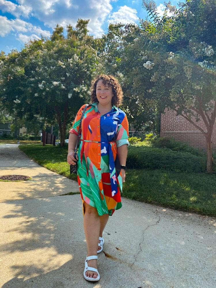 Alison of Wardrobe Oxygen in a Dressed in Joy resortwear shirtdress