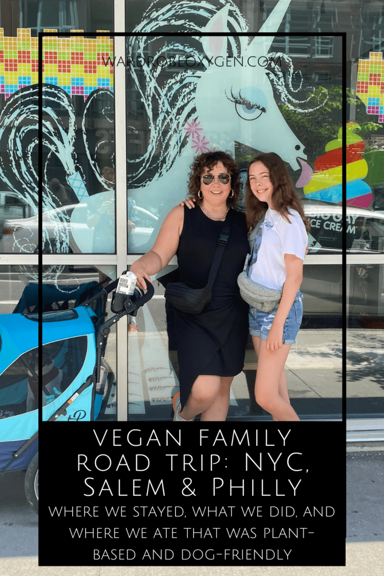 vegan family road trip by Wardrobe Oxygen. Photo is of Alison and her daughter standing in front of the restaurant big Gay Ice Cream in Philadelphia